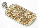 Painful Pleasures ORG253 Fighting Dragon Carved Bone Pendant with a .925 Sterling Silver Frame
