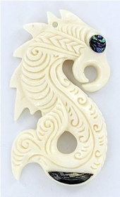 "Maori Design Pendant # 3 Bone Pendant With Abalone ""Paua"" - Price Per 1"