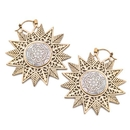 Elementals Organics ORG3063-pair 18g Star-Shaped Brass Earrings with Mother of Pearl Inlay - Price Per 2