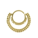 Elementals Organics ORG3074 16g Micron Beaded Crescent Bendable 18k Gold Plated Septum Ring
