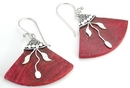 Elementals Organics ORG419-pair Red Coral Design # 11 Fan with .925 Sterling Silver Earrings - Price Per 2