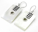 Elementals Organics ORG422-pair Mother of Pearl Rectangle Design # 17 with .925 Sterling Silver with 12 dots - Earrings - Price Per 2