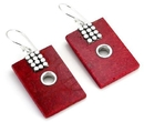 Elementals Organics ORG423-pair Red Coral Rectangle Design # 16 with .925 Sterling Silver with 12 dots - Earrings - Price Per 2
