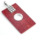 Elementals Organics ORG424 Red Coral Rectangle Design # 10 with .925 Sterling Silver with 12 dots - Pendant