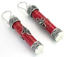 Elementals Organics ORG425-pair Red Coral Cylindrical Design # 7 with .925 Sterling Silver Earrings - Price Per 2