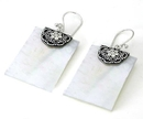 Elementals Organics ORG428-pair Mother of Pearl Rectangle Design # 6 with .925 Sterling Silver - Earrings - Price Per 2