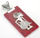 Elementals Organics ORG430 Red Coral Rectangular Design # 17 with .925 Sterling Silver Figure - Pendant