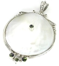 Painful Pleasures ORG439 Mother of Pearl Big Round Design # 1 with .925 Sterling Silver - Pendant