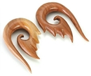 "Painful Pleasures ORG463 Red Saba Wood ""1308"" Hanger Earrings Organic Body Jewelry - Price Per 1"