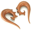 Painful Pleasures ORG464 Red Saba Wood Stingy Hanger Earrings Organic Body Jewelry - Price Per 1