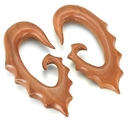 "Painful Pleasures ORG467 Red Saba Wood ""1208"" Hanger Earrings Organic Body Jewelry - Price Per 1"