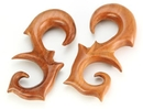 Painful Pleasures ORG546 Red Saba Wood EDGUP Hanger Earrings Organic Body Jewelry - Price Per 1