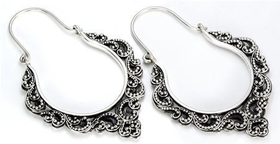 .925 Sterling Silver 16G Bali Drop Fates Earrings - Price Per 2