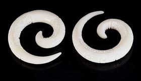 Spiral Natural Bone Carved Organic Body Jewelry 4Mm - 8Mm - Price Per 1