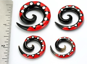 Ts# 4 Resin Tattoo Spirals Wholesale Horn Organic Body Jewelry 6G - 00G - Price Per 1