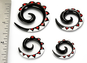 Ts# 6 Resin Tattoo Spirals Wholesale Horn Organic Body Jewelry 6G - 00G - Price Per 1
