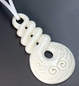 Over The Top Pendant # 17 Bone Pendant With Intricate Carving - Price Per 1
