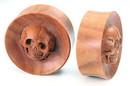 Painful Pleasures ORG761 Saba Wood Double Flare SKULL Wholesale Organic Jewelry 16mm-30mm - Price Per 1