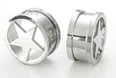 Painful Pleasures P081 STAR Threaded Tunnel - Stainless Steel Lasered Star Tunnel - Price Per 1