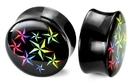 """Painful Pleasures P118 0g up to 1"""" BLACK Multiple Stars Double Flare Plugs - Price Per 1"""
