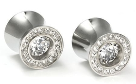 "Bling Bling Bling Plugs Double Flare High Polish Steel Ear Jewelry 0G - 5/8"" - Price Per 1"