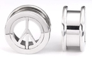 Painful Pleasures P157 PEACE Threaded Tunnel - Stainless Steel Lasered PEACE Tunnel