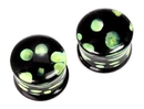 "Painful Pleasures P179 Double Flare GREEN DOTS Glass Plug - 8g - 5/8"" - Price Per 1"