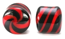 "Painful Pleasures P189 8g - 5/8"" Pyrex Glass BLACK RED Licorice Plug - Price Per 1"