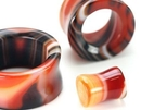"""Painful Pleasures P269 Double Flare Tunnel RED AGATE STONE 0g - 1"""" - Price Per 1"""
