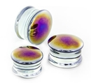 Painful Pleasures P481 BLACK PEARL Front Glass Double Flare Plugs - Price Per 1