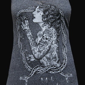 Womens Eve Racer Back Tank - Low Brow, Black Market Art