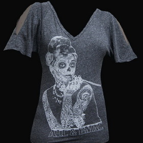 Womens Aubrey V Neck Dolman Sleeve Tee - Low Brow, Black Market Art