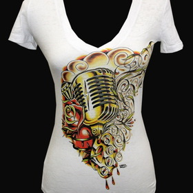 Womens Hart & Soul Vneck Burnout Tee - Low Brow, Black Market Art