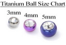 Painful Pleasures RES211-212 14g Externally Threaded Titanium Jeweled Ball - 4mm or 5mm - Price Per 1
