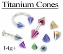 Painful Pleasures RES220-221 14g Titanium CONE - Titanium SPIKE Only - 4mm or 5mm