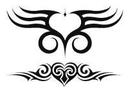 "Painful Pleasures TAT-907 Tribal Hearts  Temporary Tattoos - 2.5""X3.5"""