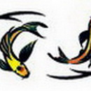 """Painful Pleasures TAT-944 KOI FISH Arm or Ankle Band Temporary Tattoos - 1"""" x 6"""""""