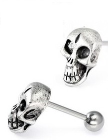 "14G 5/8"" Skull Straight Barbell Tongue Jewelry Wholesale Body Jewelry"
