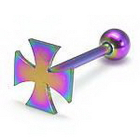 "14G 5/8"" Flat Top Independent Cross Straight Barbell - Anodized Steel"
