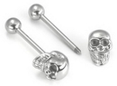 Painful Pleasures UB140 14g 5/8'' Steel Casted 3D Skull Straight Barbell