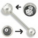 Painful Pleasures UB158 14g 5/8'' Double Logo Dice/ 8 ball Straight Barbell