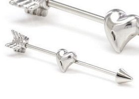 "Cupids Heart N Arrow 16G 1 3/8"" Industrial Ear Barbell Piercing Jewelry"