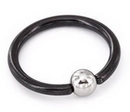 Painful Pleasures UR217a 16g Titanium BlackOut Captive Bead Ring with Steel Ball