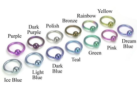 14G Titanium Captive Bead Ring With Titanium Ball - 18 Color Choices