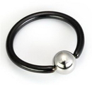 Painful Pleasures UR218-steel 14g Titanium BlackOut Captive Bead Ring with Steel Ball