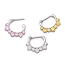 Painful Pleasures UR495 16g Steel Septum Clicker with Seven Colored Crystals - Price Per 1
