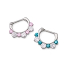 Painful Pleasures UR497 16g Steel Septum Clicker with Three Crystals and Four Colored Jewels - Price Per 1