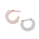 Painful Pleasures UR498 16g Stainless Steel Septum Clicker with Double Tiered Crystals - Price Per 1