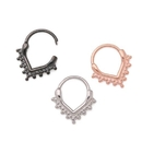 Painful Pleasures UR499 16g Steel Septum Clicker - V-Shaped Ring with Clustered Beads - Price Per 1