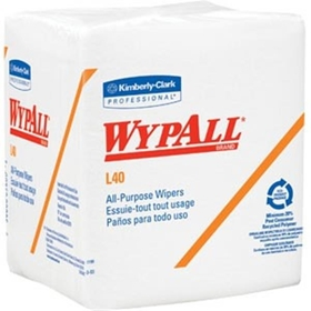 "Wypall L40 Wipers, 1/4 Fold, 12.5"" x 14.4"" , White, 18 PK/56 EA"